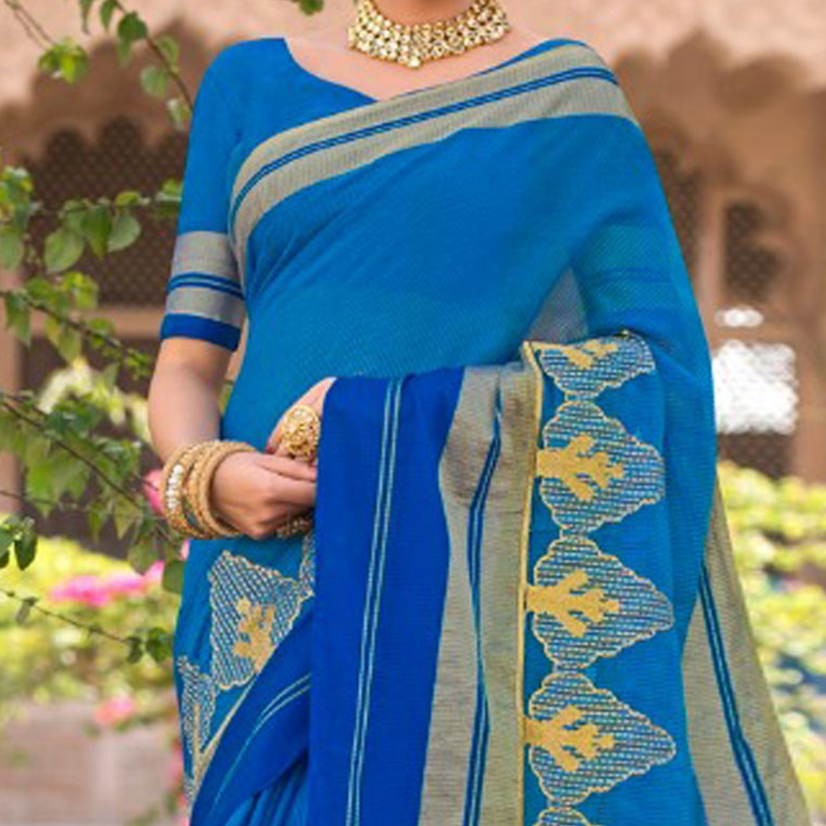 Superb Blue Colored Festive Wear Embroidered Woven Banarasi Silk Saree