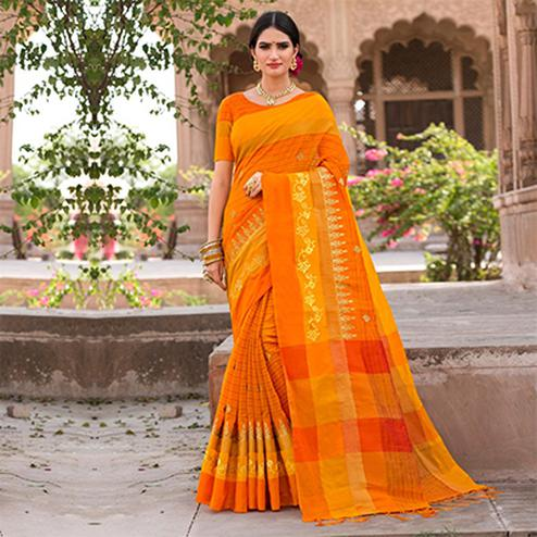 Majestic Yellow-Orange Colored Festive Wear Embroidered Woven Banarasi Silk Saree