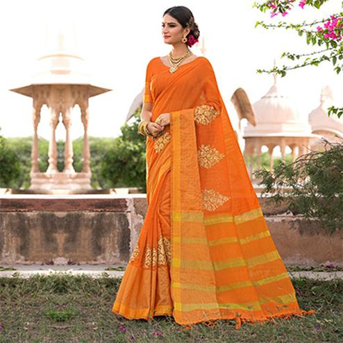 Dazzling Orange Colored Festive Wear Embroidered Woven Banarasi Silk Saree