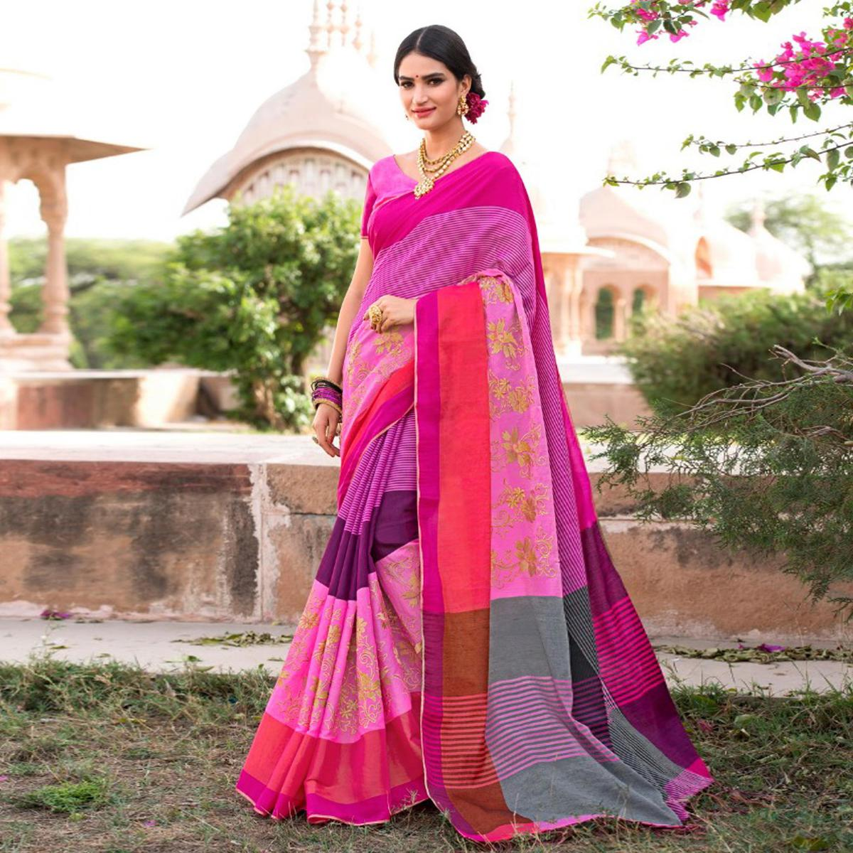 Unique Pink-Multi Colored Festive Wear Embroidered Woven Banarasi Silk Saree