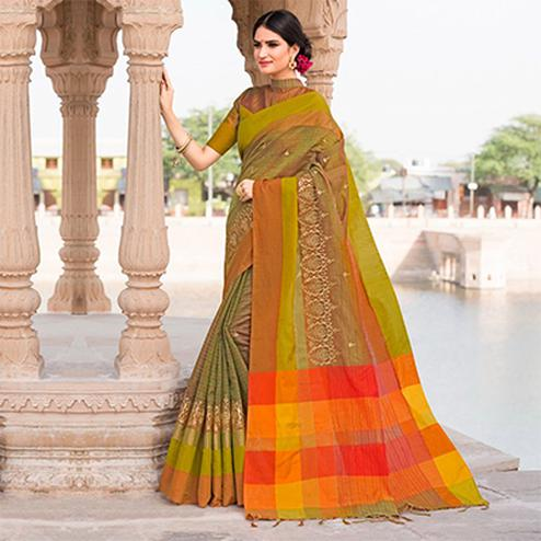Perfect Green Colored Festive Wear Embroidered Woven Banarasi Silk Saree