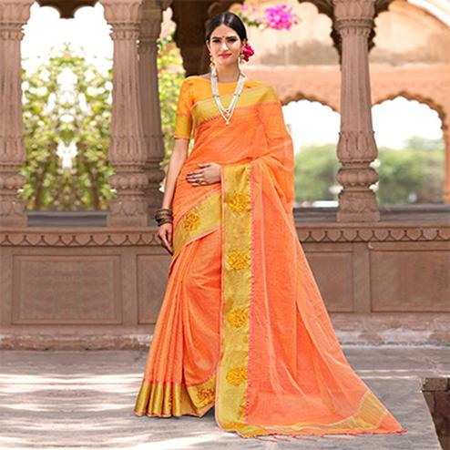 Groovy Orange Colored Festive Wear Embroidered Woven Banarasi Silk Saree