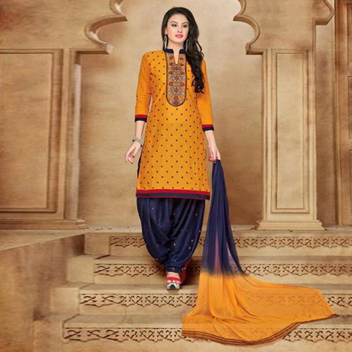 Yellow Satin Cotton Designer Embroidered Wedding Patiala Suit
