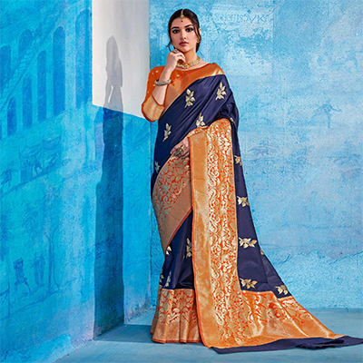 Majesty Navy Blue Colored Festive Wear Handloom Silk Saree