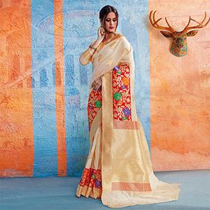 Awesome Cream Colored Festive Wear Handloom Silk Saree