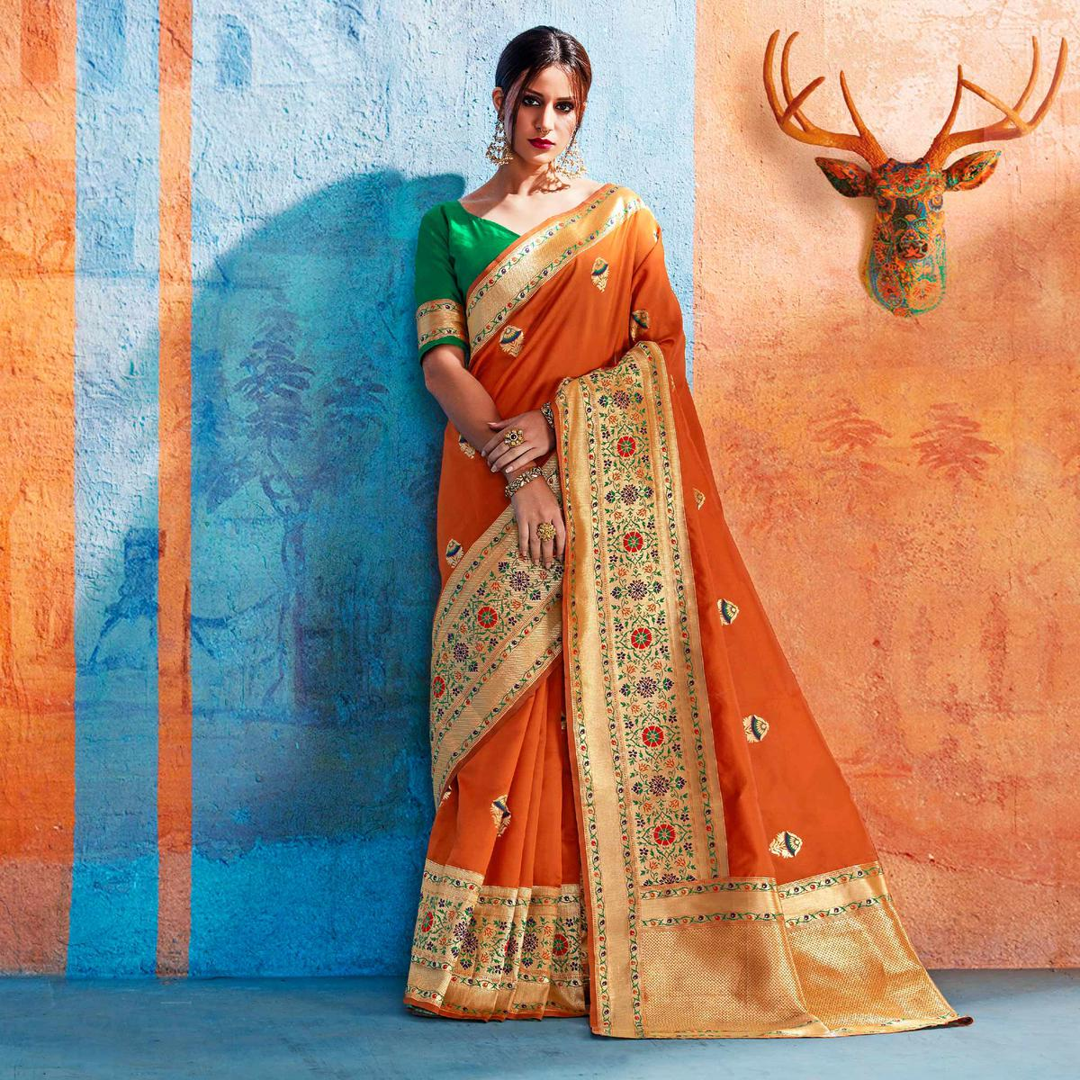 Alluring Orange Colored Festive Wear Handloom Silk Saree