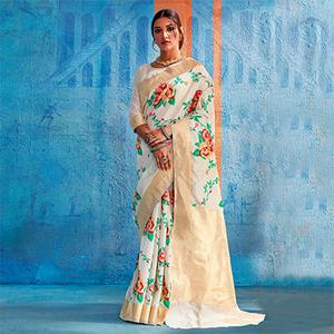 Precious White Colored Festive Wear Handloom Silk Saree