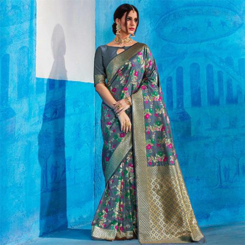 Amazing Grey Colored Festive Wear Handloom Silk Saree