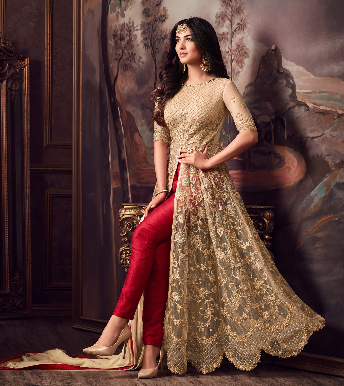 Awesome Golden-Red Colored Designer Partywear Heavy Embroidered Net Anarkali Suit