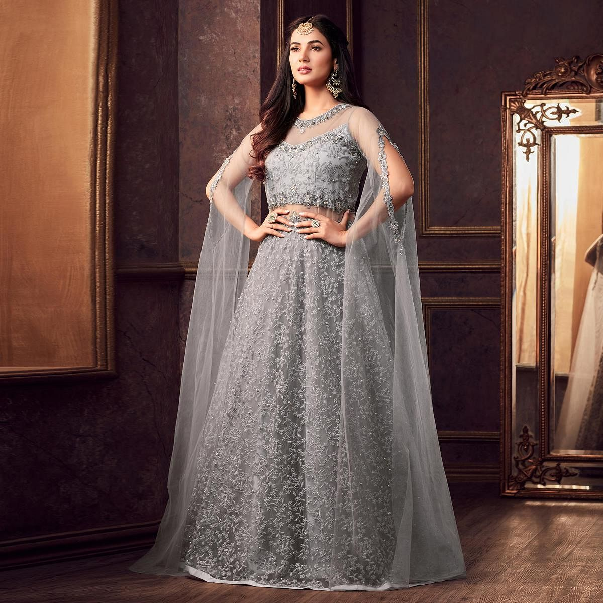 Hypnotic Gray Colored Designer Partywear Heavy Embroidered Net Anarkali Suit
