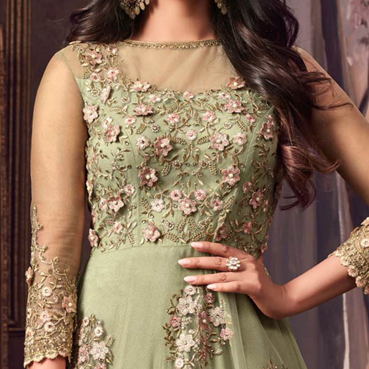 Gorgeous Green Colored Designer Partywear Heavy Embroidered Net Anarkali Suit