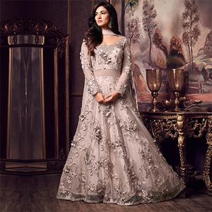 Beautiful Gray Colored Designer Partywear Heavy Embroidered Net Anarkali Suit