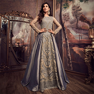 Majestic Gray Colored Designer Partywear Heavy Embroidered Silk Anarkali Suit