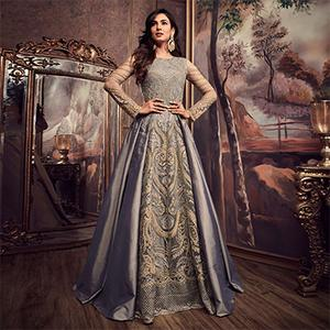 Majestic Gray Colored Designer Partywear Heavy Embroidered Pure Silk Anarkali Suit