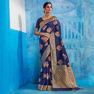 Radiant Navy Blue Colored Festive Wear Handloom Silk Saree