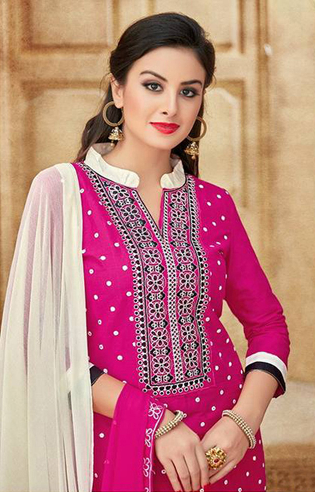 Pink Satin Cotton Designer Embroidered Wedding Patiala Suit