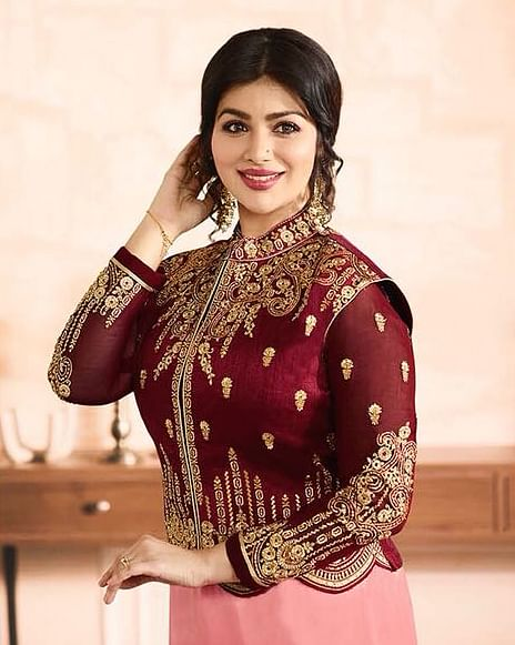 Flaunt Maroon-Pink Colored Partywear Embroidered Georgette Suit With Koti