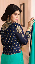 Beautiful Navy Blue-Turquoise Green Colored Partywear Embroidered Georgette Suit With Koti