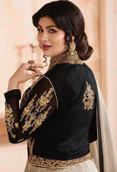 Stylish Black-Gray Colored Partywear Embroidered Georgette Suit With Koti