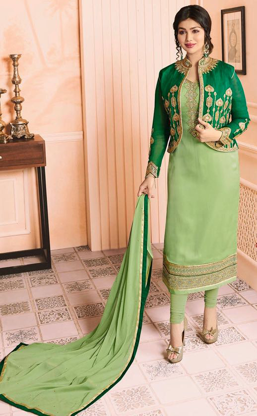 Refreshing Green Colored Partywear Embroidered Georgette Suit With Koti