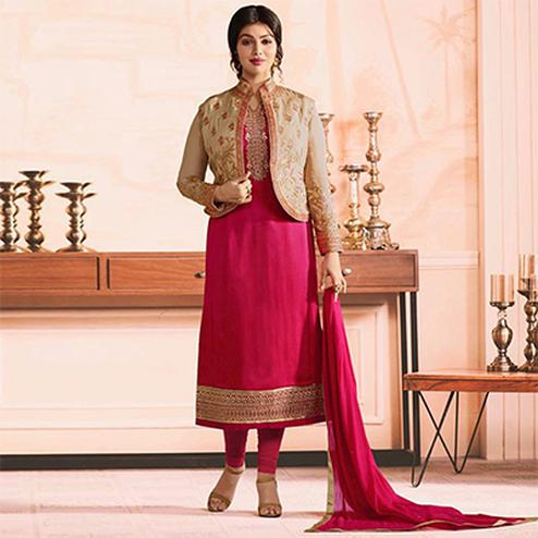 Mesmerising Beige-Fuschia Pink Colored Partywear Embroidered Georgette Suit With Koti