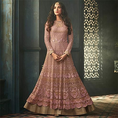 Beautiful Pink Colored Designer Embroidered Abaya Style Net Anarkali Suit