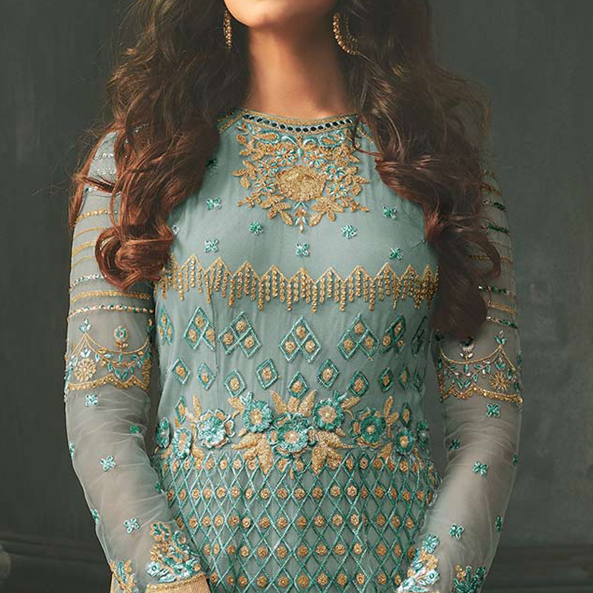 Attractive Sky Blue Colored Designer Embroidered Abaya Style Net Anarkali Suit