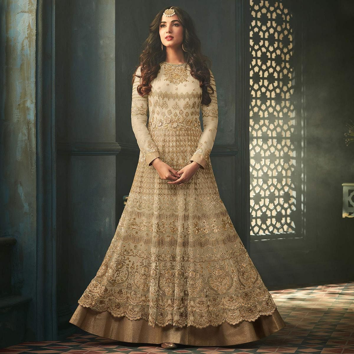 Eye-Catching Cream Colored Designer Embroidered Abaya Style Net Anarkali Suit