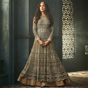 Stylish Gray Colored Designer Embroidered Abaya Style Net Anarkali Suit