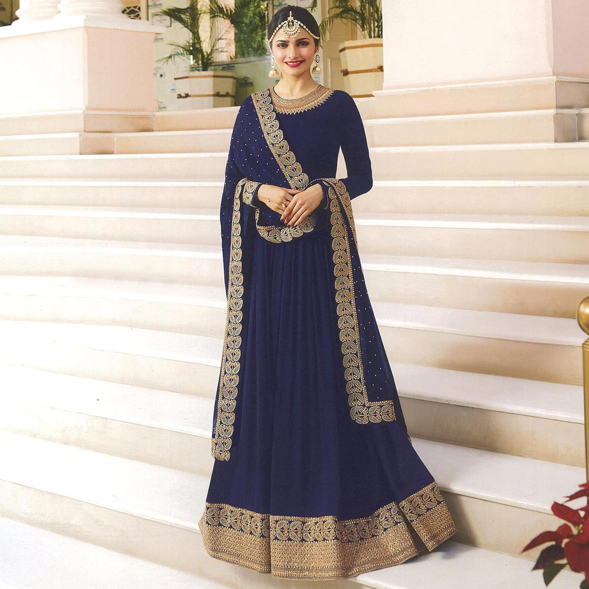 Awesome Navy Blue Colored Embroidered Abaya Style Georgette Anarkali Suit