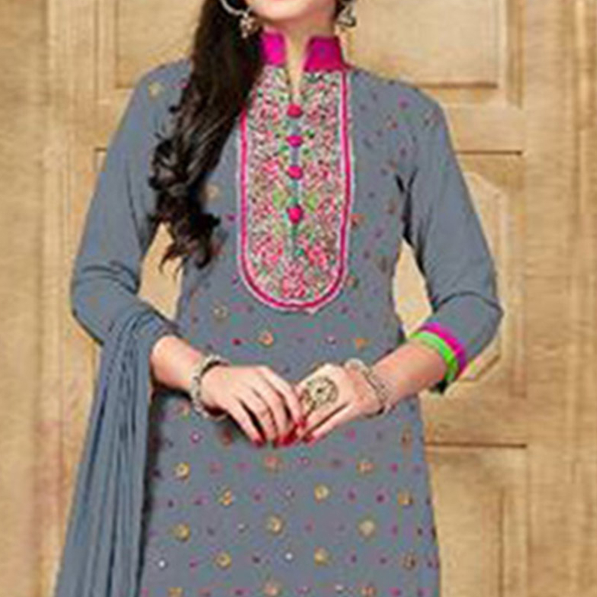 Grey Satin Cotton Designer Embroidered Wedding Patiala Suit
