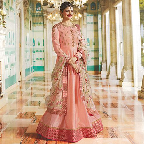 Demanding Peach Colored Embroidered Abaya Style Satin Anarkali Suit