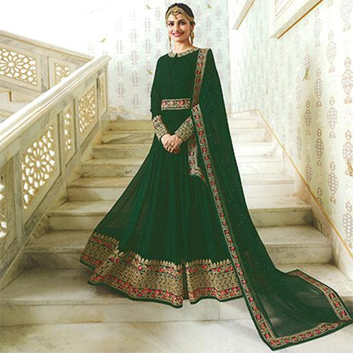 Glowing Green Colored Embroidered Abaya Style Georgette Anarkali Suit