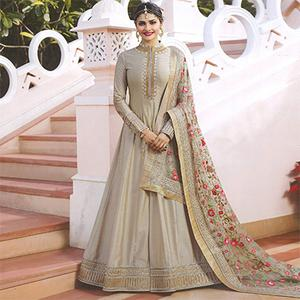Elegant Light Gray Colored Embroidered Abaya Style Satin Anarkali Suit