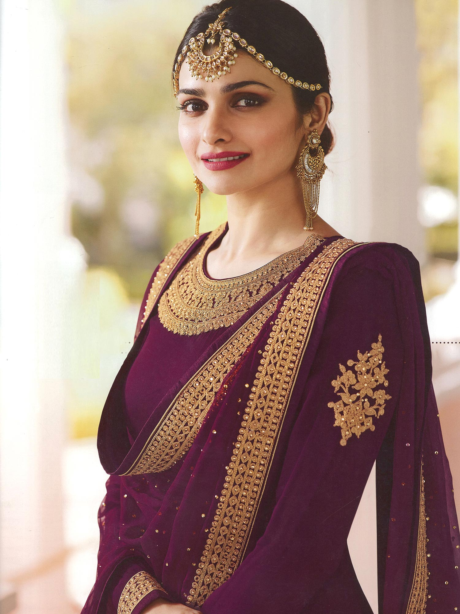 Desirable Magenta Colored Embroidered Abaya Style Georgette Anarkali Suit