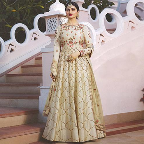 Beautiful Cream Colored Embroidered Abaya Style Satin Anarkali Suit