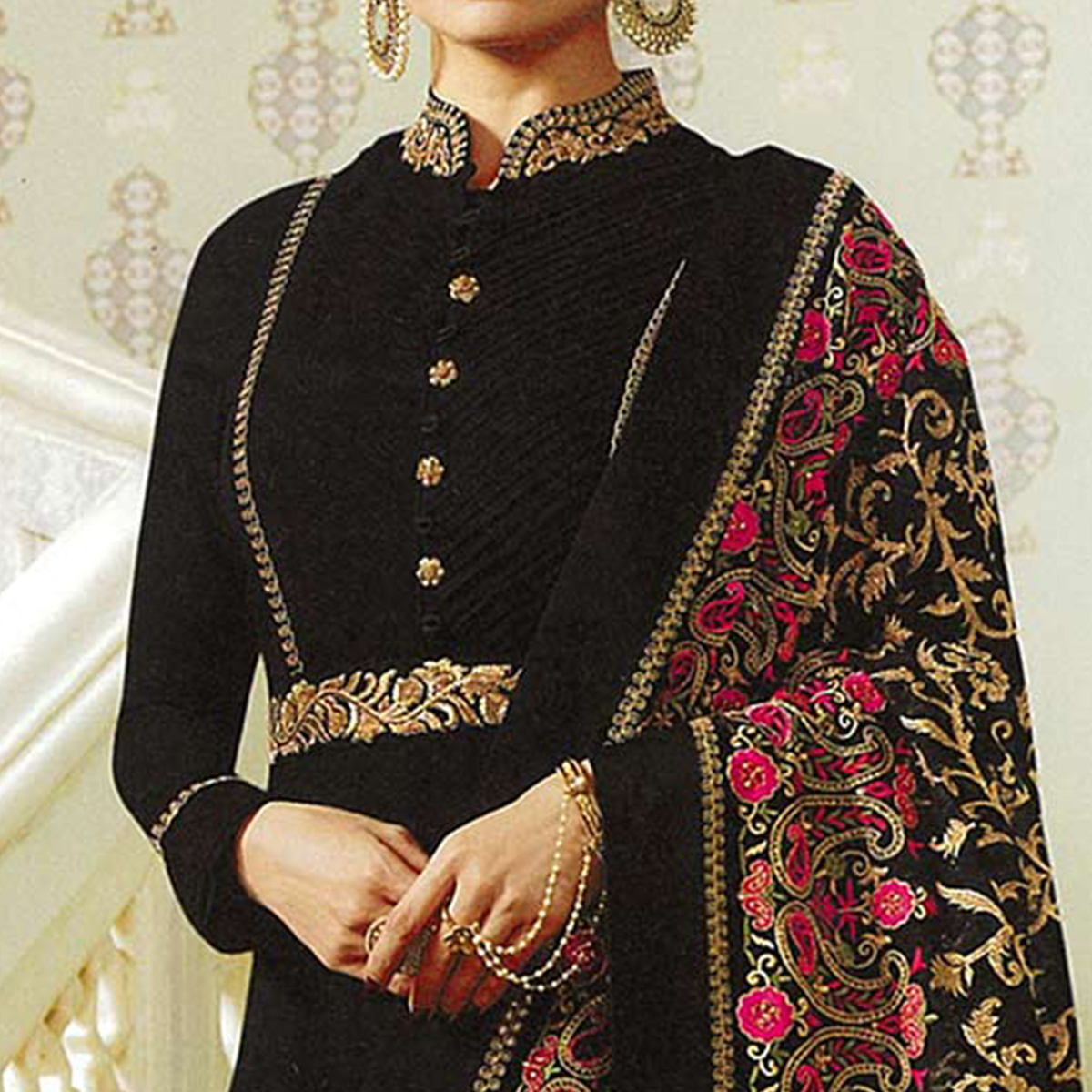 Flaunt Black Colored Embroidered Abaya Style Georgette Anarkali Suit