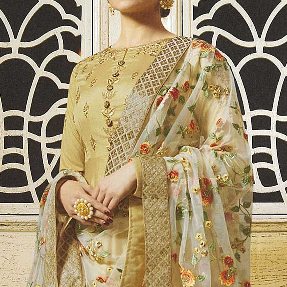 Eye-Catching Golden Colored Embroidered Abaya Style Satin Anarkali Suit