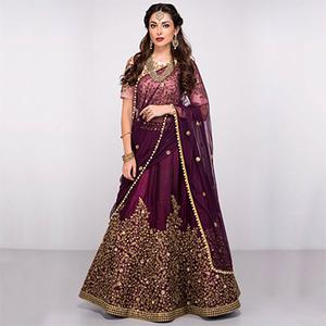 Attractive Purple Colored Partywear Designer Embroidered Pure Silk Lehenga Choli