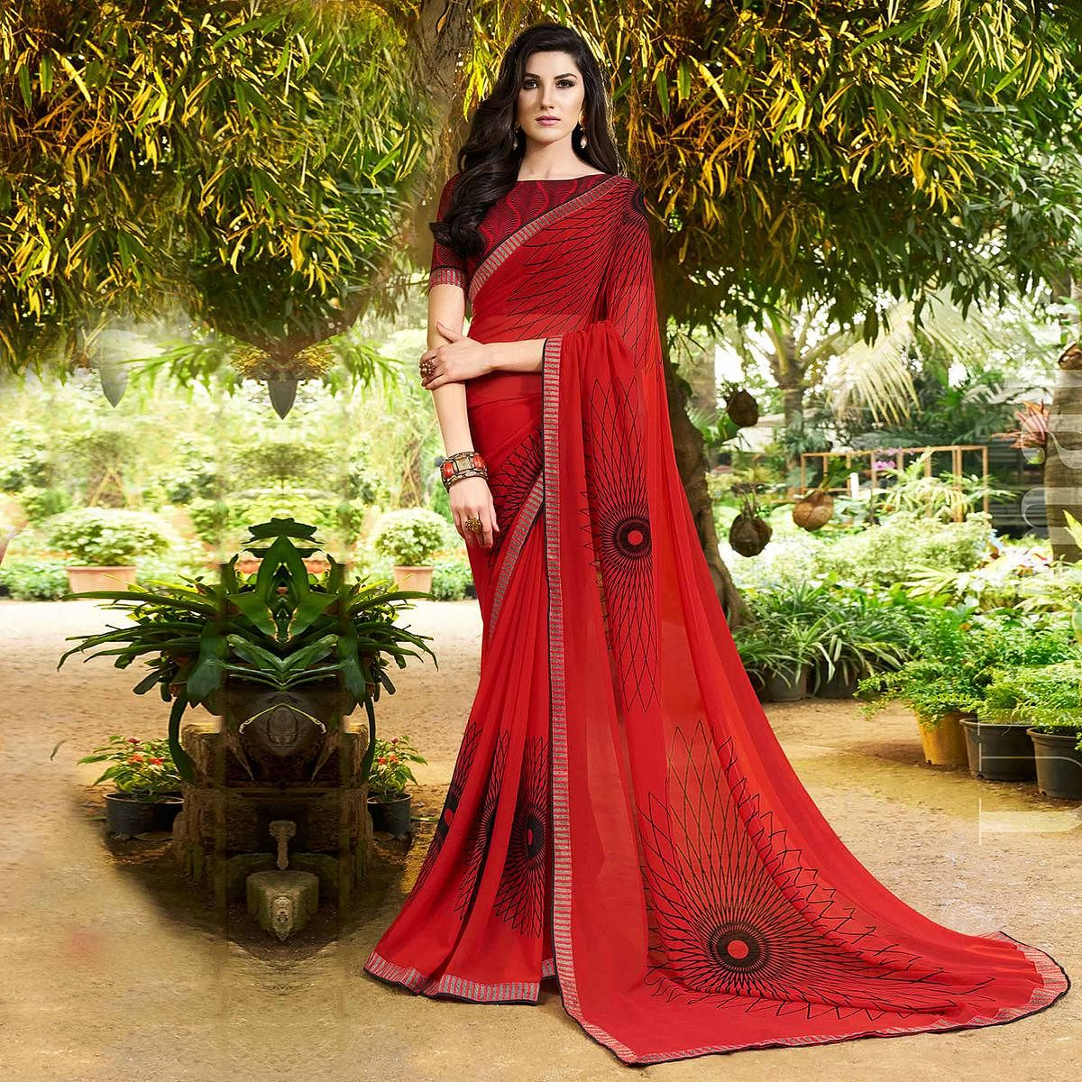 Stylish Red Colored Casual Printed Georgette Saree