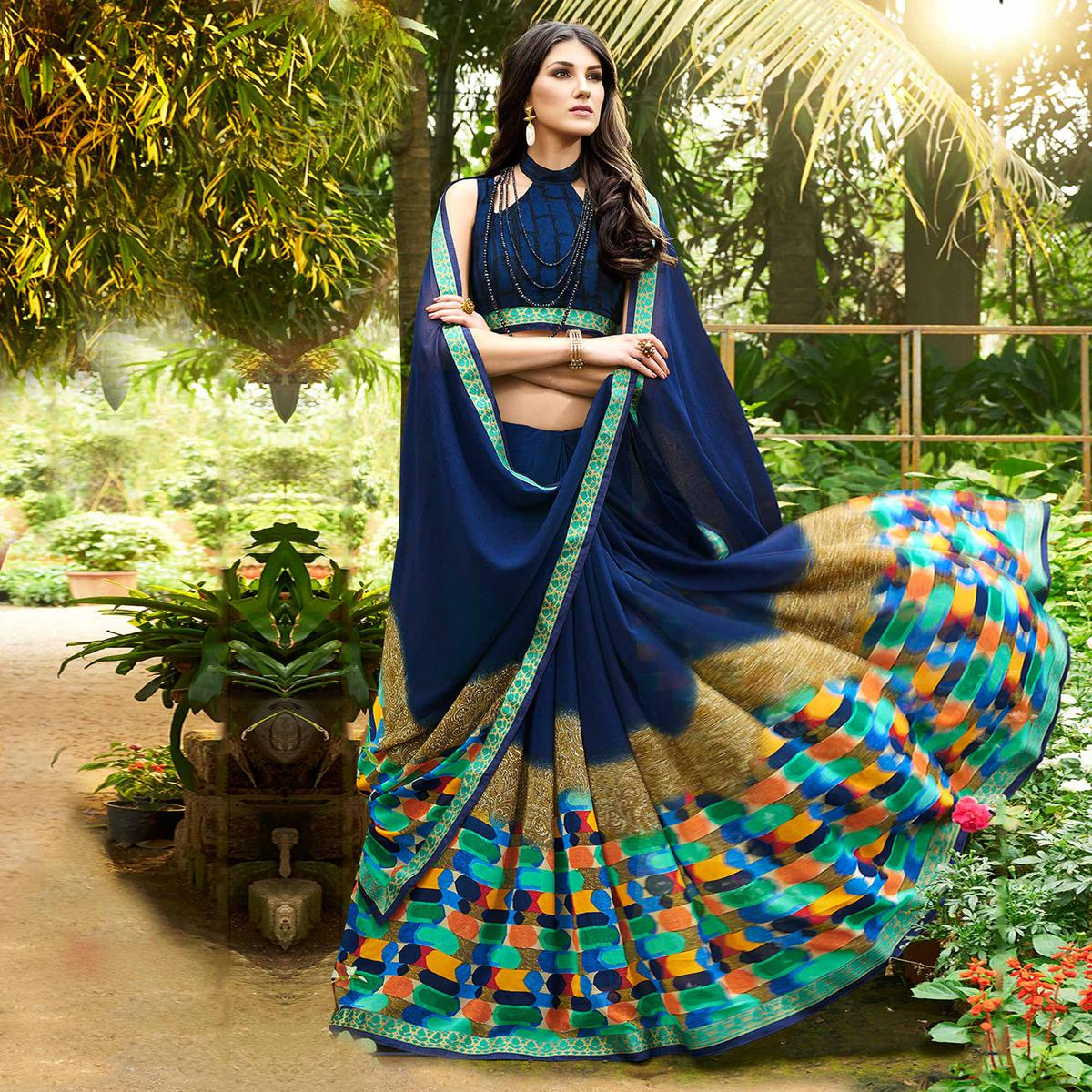Beautiful Navy Blue Colored Casual Printed Georgette Saree
