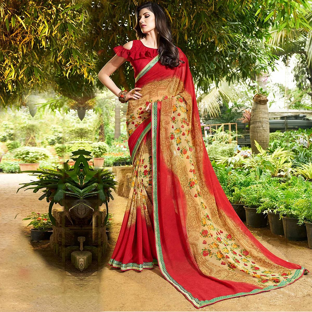 Lovely Red-Beige Colored Casual Printed Georgette Saree