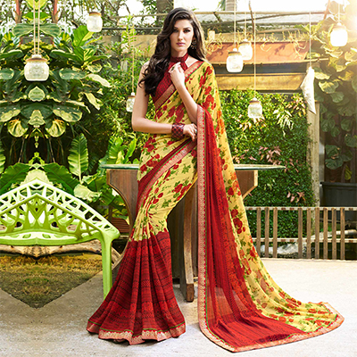 Flaunt Yellow-Red Colored Casual Printed Georgette Saree