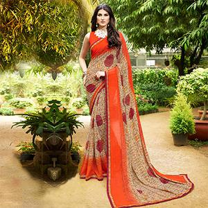 Gorgeous Orange Colored Casual Printed Georgette Saree