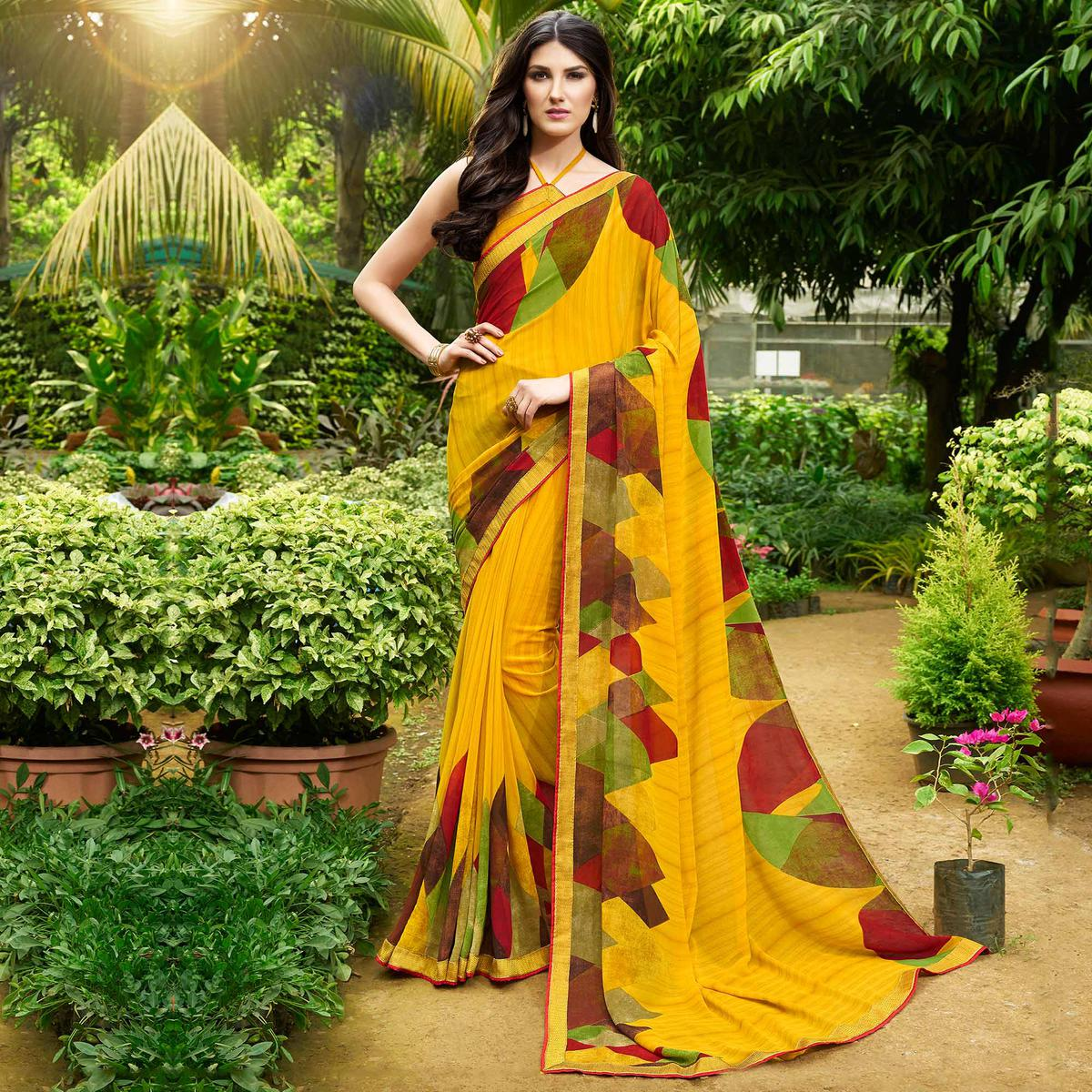 Moody Yellow Colored Casual Printed Georgette Saree