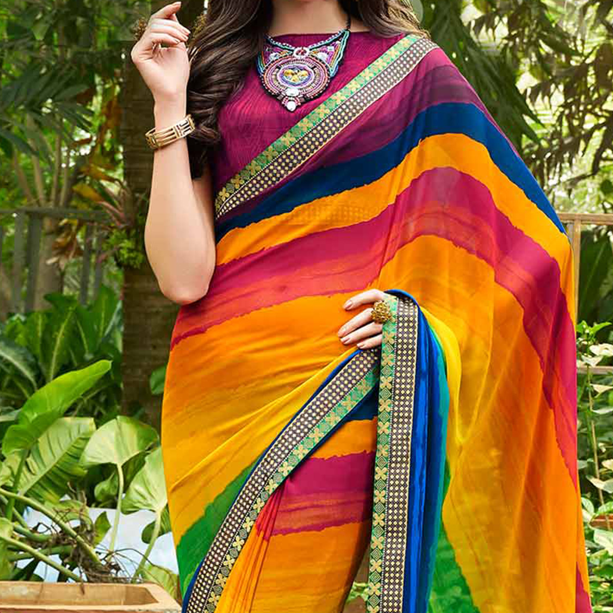 Elegant Multi Colored Casual Printed Georgette Saree