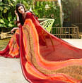 Dazzling Red-Multi Colored Casual Printed Georgette Saree