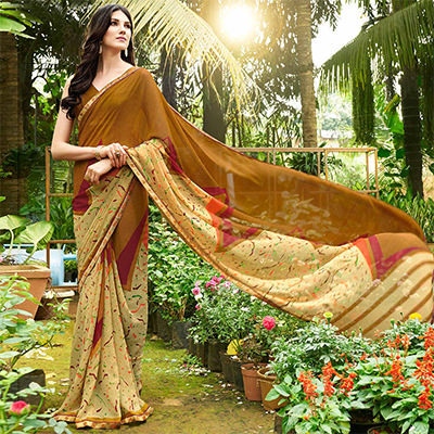 Bold Brown Colored Casual Printed Georgette Saree