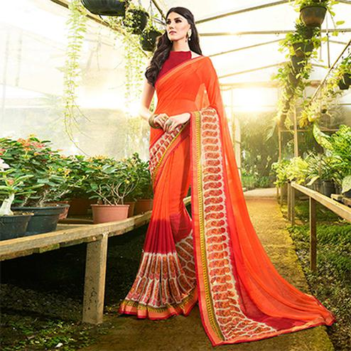 Refreshing Orange-Red Colored Casual Printed Georgette Saree