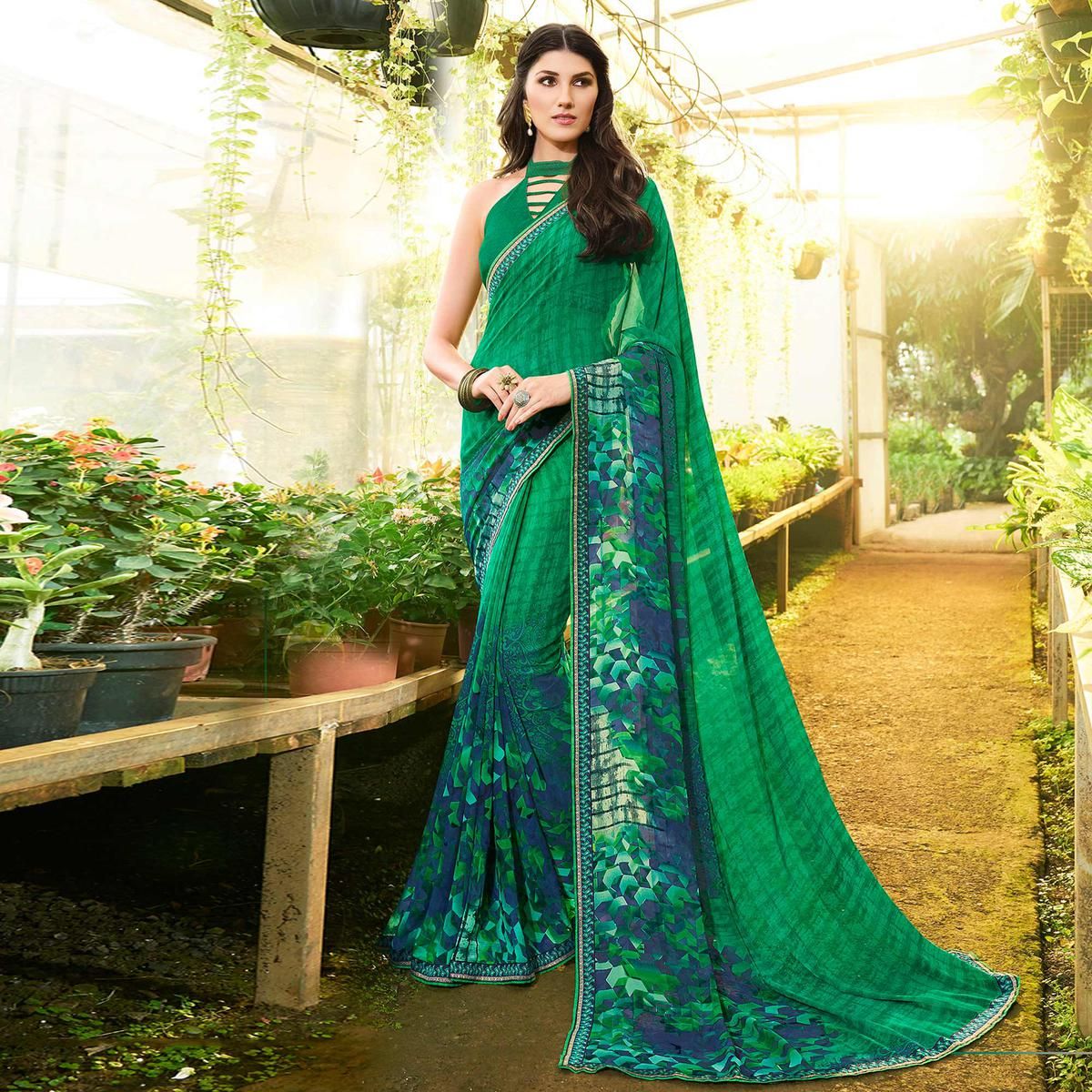 Mystic Green Colored Casual Printed Georgette Saree